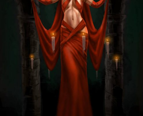 Sorceress in red dress with gathering magic fireballs in her hands by Adam Miconi
