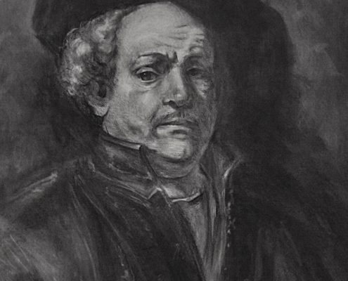 Rembrandt charcoal portrait drawing study by Adam Miconi
