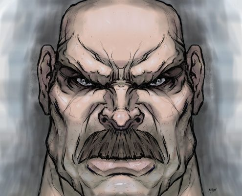 Brute Head Drawing by Adam Miconi